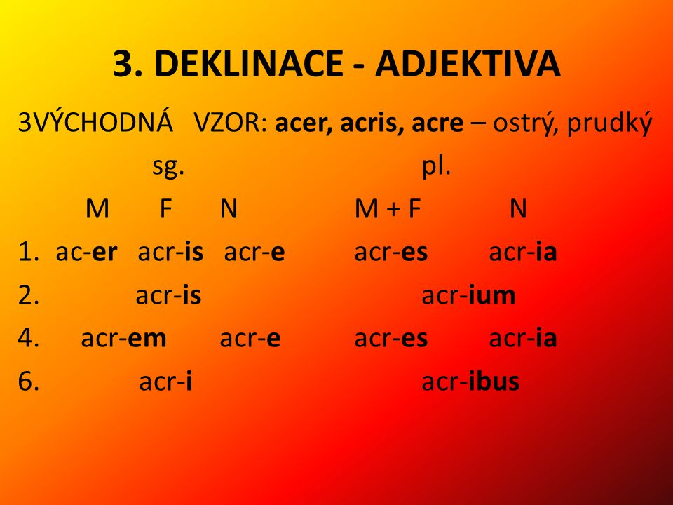 3. DEKLINACE - ADJEKTIVA 3VÝCHODNÁ VZOR: acer, acris, acre – ostrý, prudký. sg. pl. M F N M + F N.