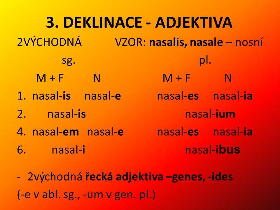 3. DEKLINACE - ADJEKTIVA 2VÝCHODNÁ VZOR: nasalis, nasale – nosní