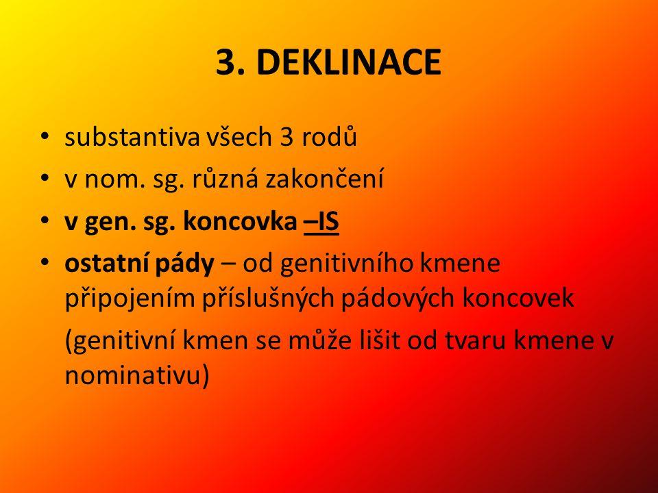 3. DEKLINACE substantiva všech 3 rodů v nom. sg. různá zakončení