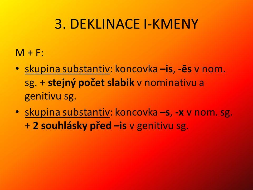 3. DEKLINACE I-KMENY M + F: