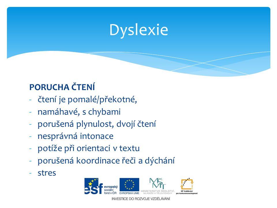 Dyslexie PORUCHA ČTENÍ čtení je pomalé/překotné, namáhavé, s chybami