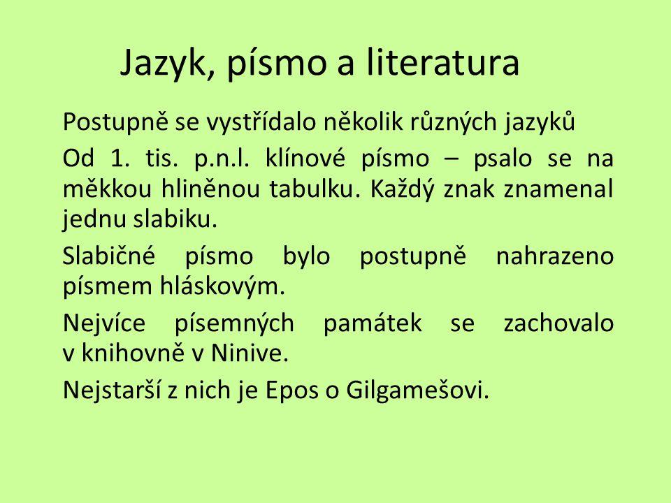 Jazyk, písmo a literatura