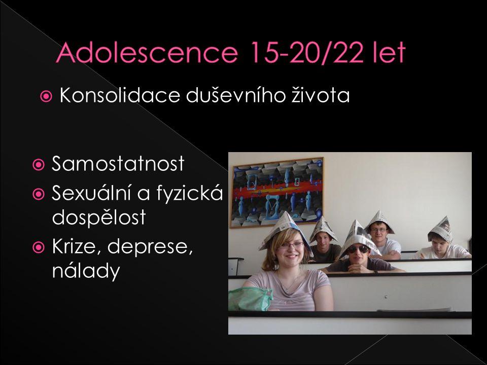 Adolescence 15-20/22 let Konsolidace duševního života Samostatnost