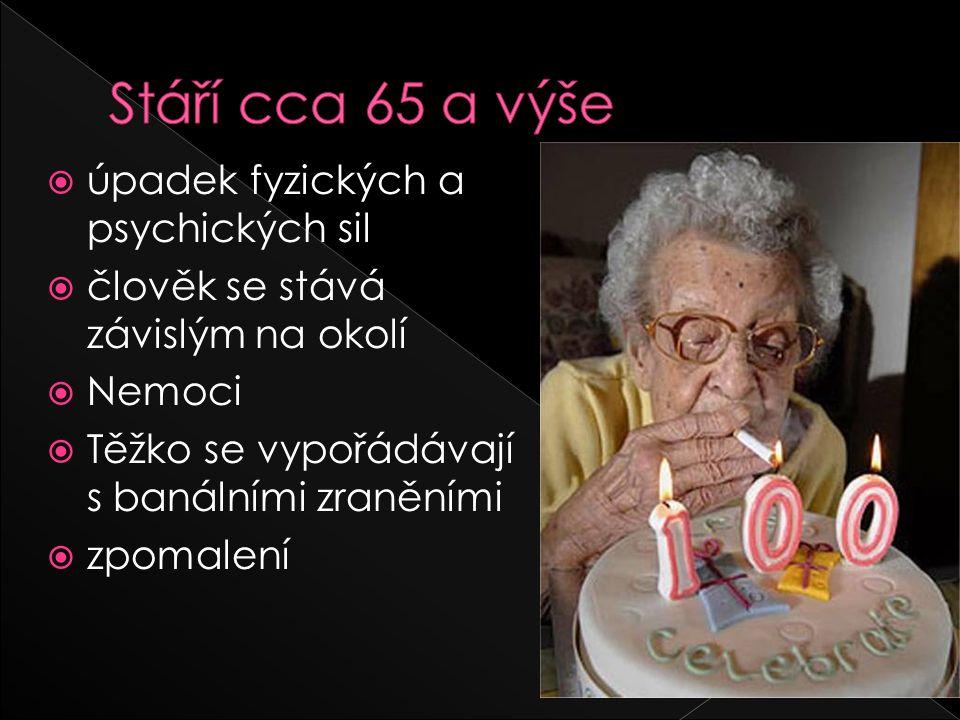 Stáří cca 65 a výše úpadek fyzických a psychických sil