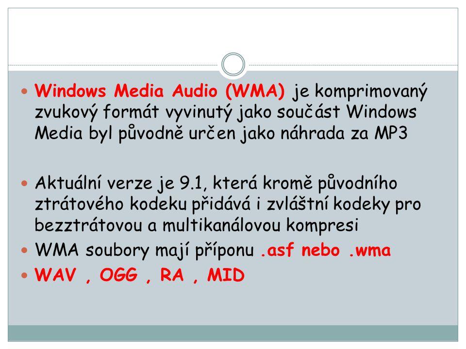 Windows Media Audio (WMA) je komprimovaný zvukový formát vyvinutý jako součást Windows Media byl původně určen jako náhrada za MP3
