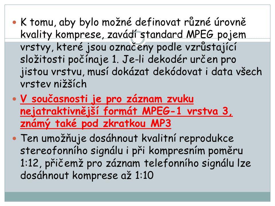 K tomu, aby bylo možné definovat různé úrovně kvality komprese, zavádí standard MPEG pojem vrstvy, které jsou označeny podle vzrůstající složitosti počínaje 1. Je-li dekodér určen pro jistou vrstvu, musí dokázat dekódovat i data všech vrstev nižších