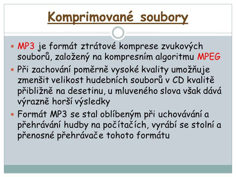 Komprimované soubory MP3 je formát ztrátové komprese zvukových souborů, založený na kompresním algoritmu MPEG.