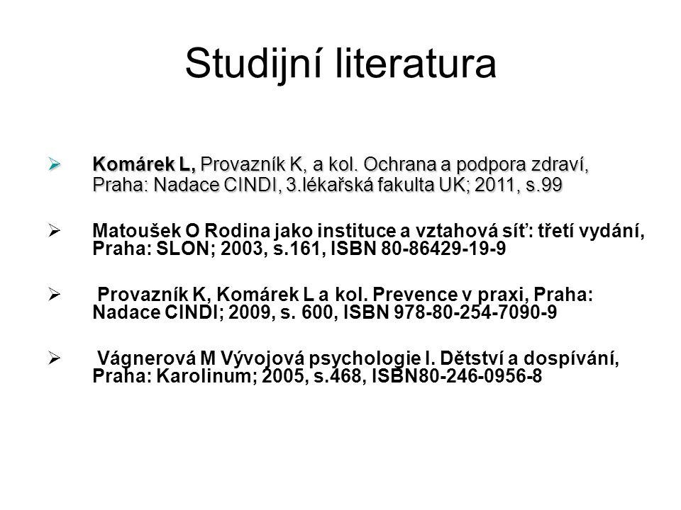 Studijní literatura Komárek L, Provazník K, a kol. Ochrana a podpora zdraví, Praha: Nadace CINDI, 3.lékařská fakulta UK; 2011, s.99.