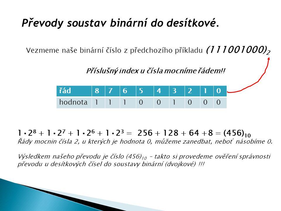 Převody soustav binární do desítkové.