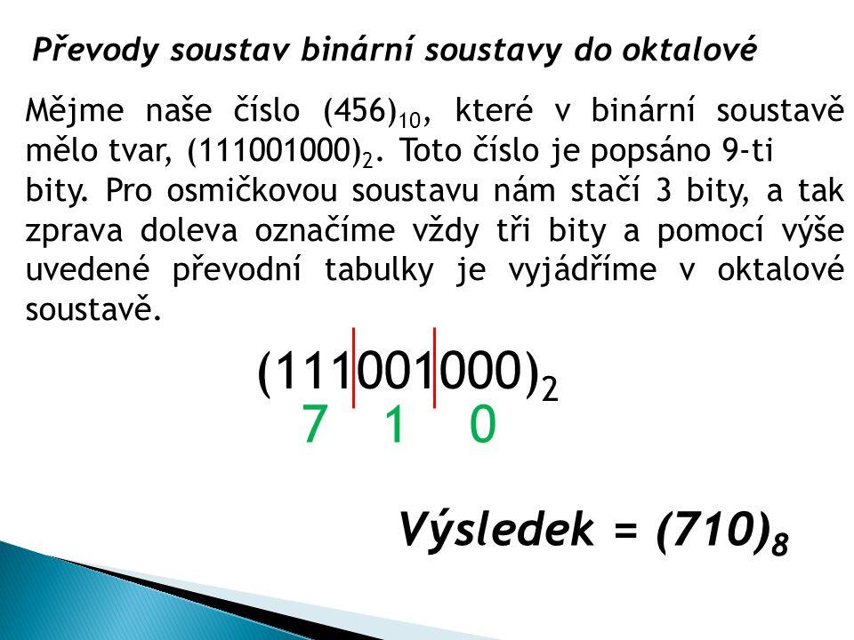 Převody soustav binární soustavy do oktalové