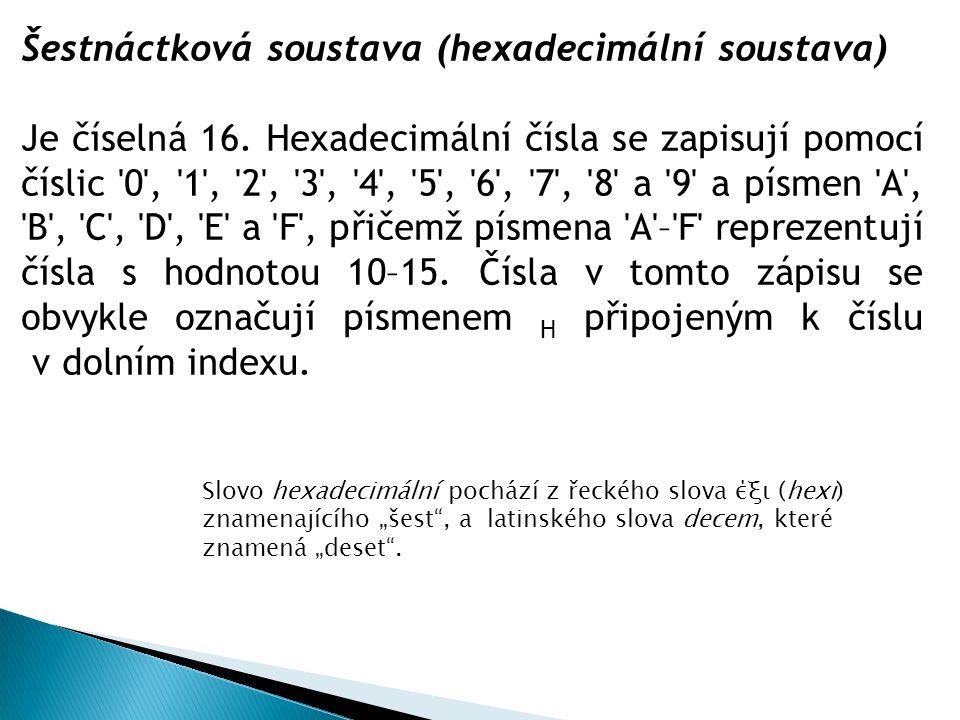 Šestnáctková soustava (hexadecimální soustava)