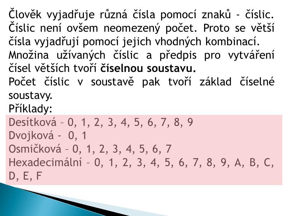 Člověk vyjadřuje různá čísla pomocí znaků - číslic