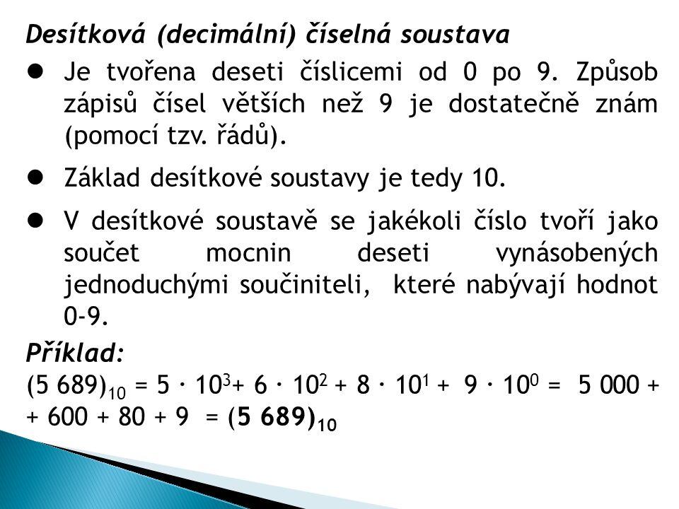Desítková (decimální) číselná soustava