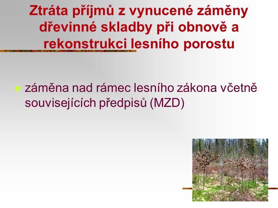 Ztráta příjmů z vynucené záměny dřevinné skladby při obnově a rekonstrukci lesního porostu