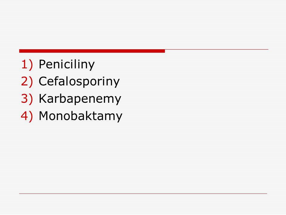 Peniciliny Cefalosporiny Karbapenemy Monobaktamy
