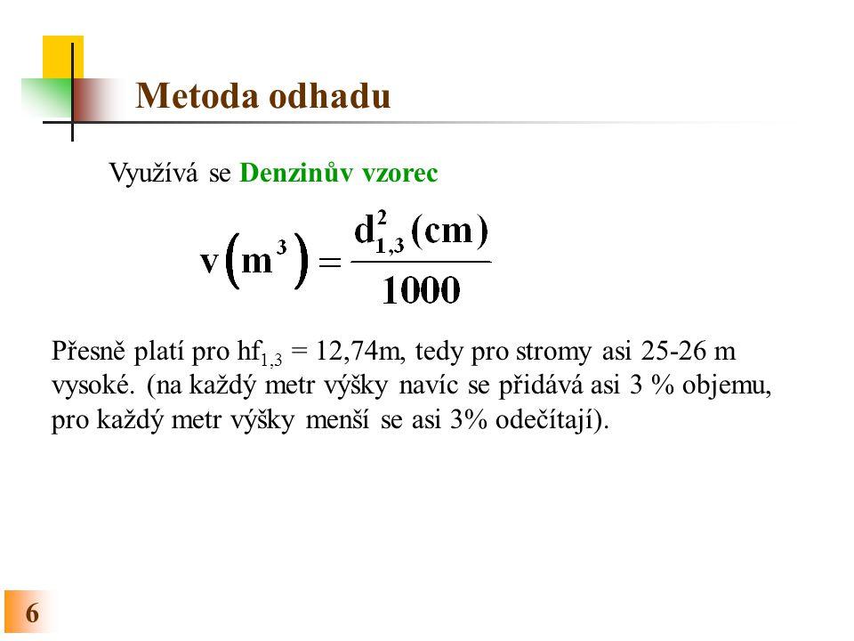 Metoda odhadu Využívá se Denzinův vzorec