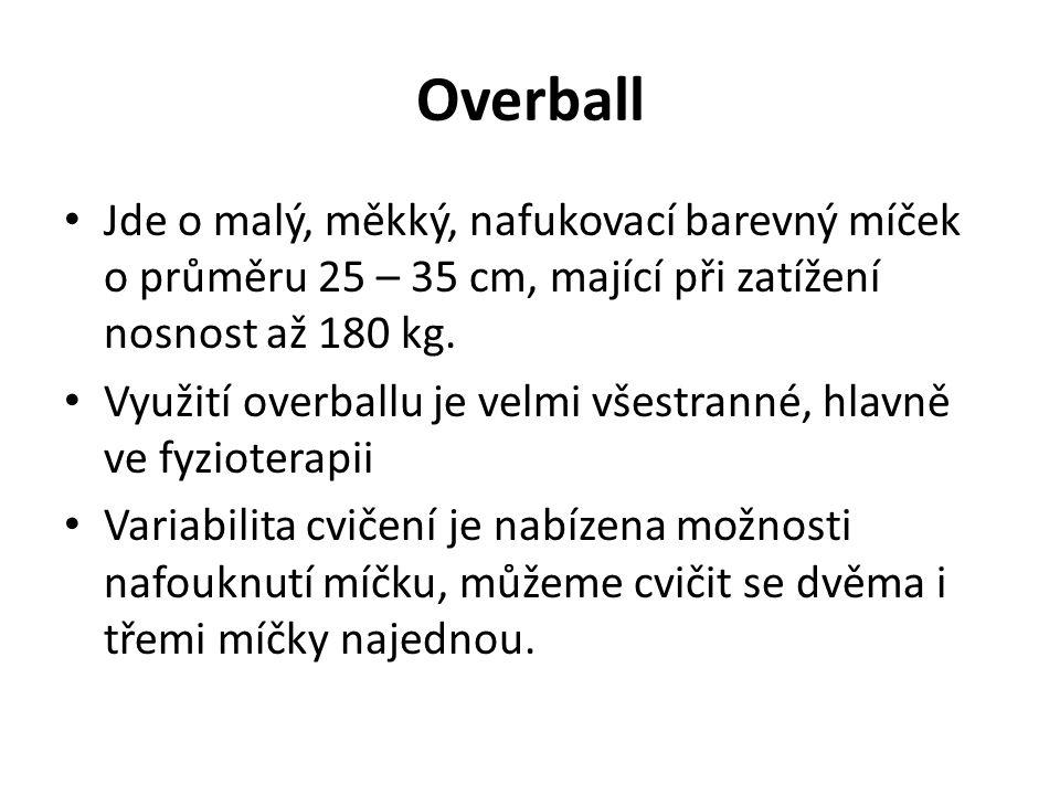 Overball Jde o malý, měkký, nafukovací barevný míček o průměru 25 – 35 cm, mající při zatížení nosnost až 180 kg.