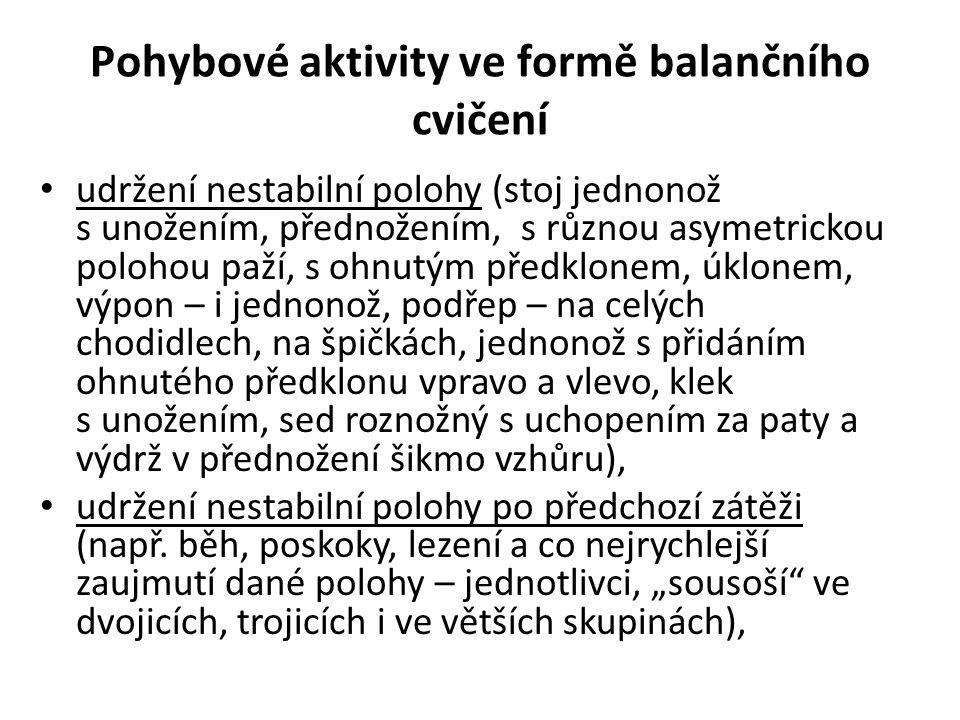 Pohybové aktivity ve formě balančního cvičení