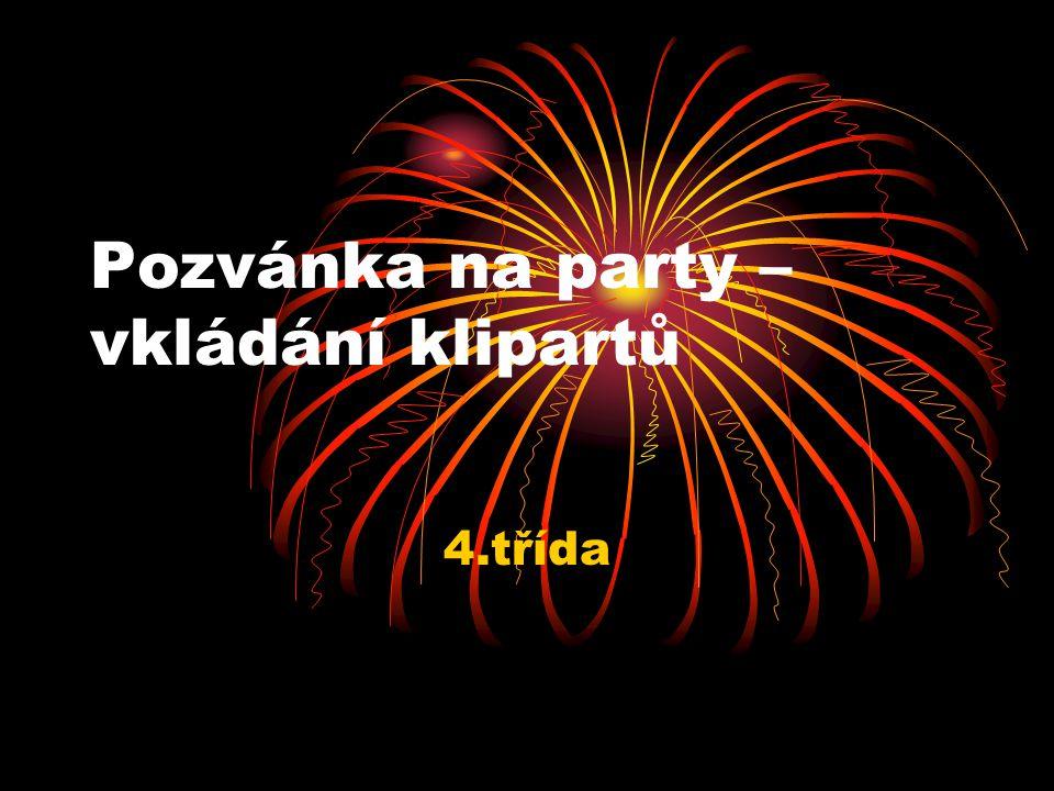 Pozvánka na party – vkládání klipartů
