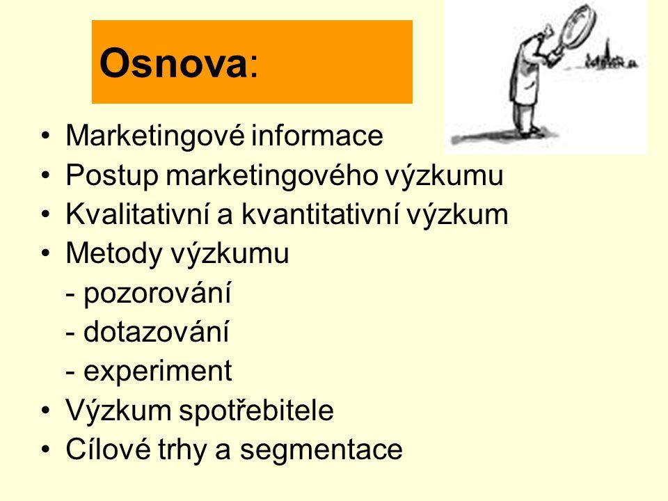 Osnova: Marketingové informace Postup marketingového výzkumu