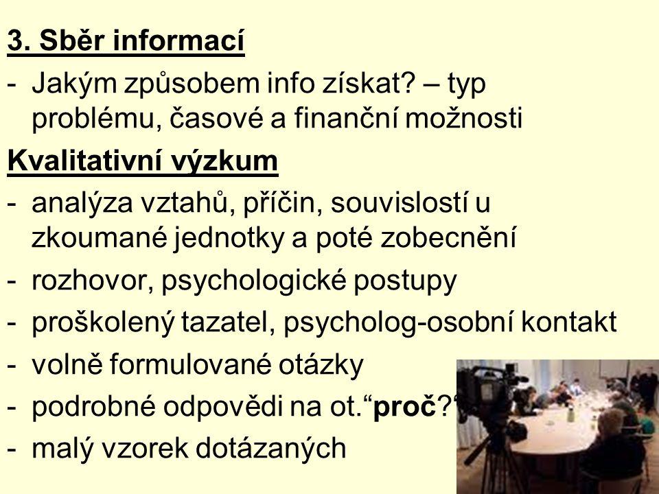 3. Sběr informací Jakým způsobem info získat – typ problému, časové a finanční možnosti. Kvalitativní výzkum.