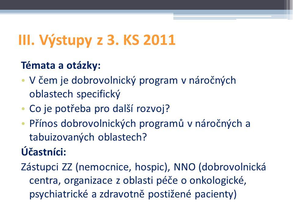 III. Výstupy z 3. KS 2011 Témata a otázky: