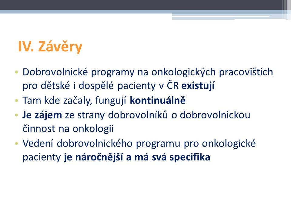IV. Závěry Dobrovolnické programy na onkologických pracovištích pro dětské i dospělé pacienty v ČR existují.