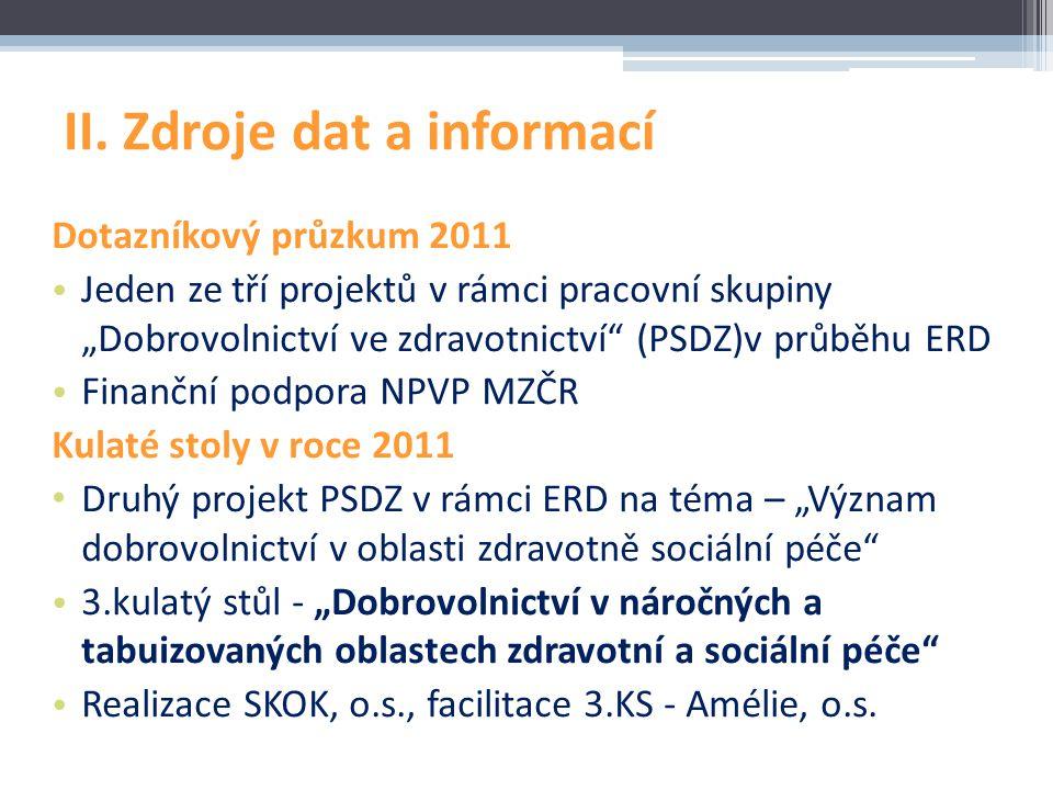 II. Zdroje dat a informací