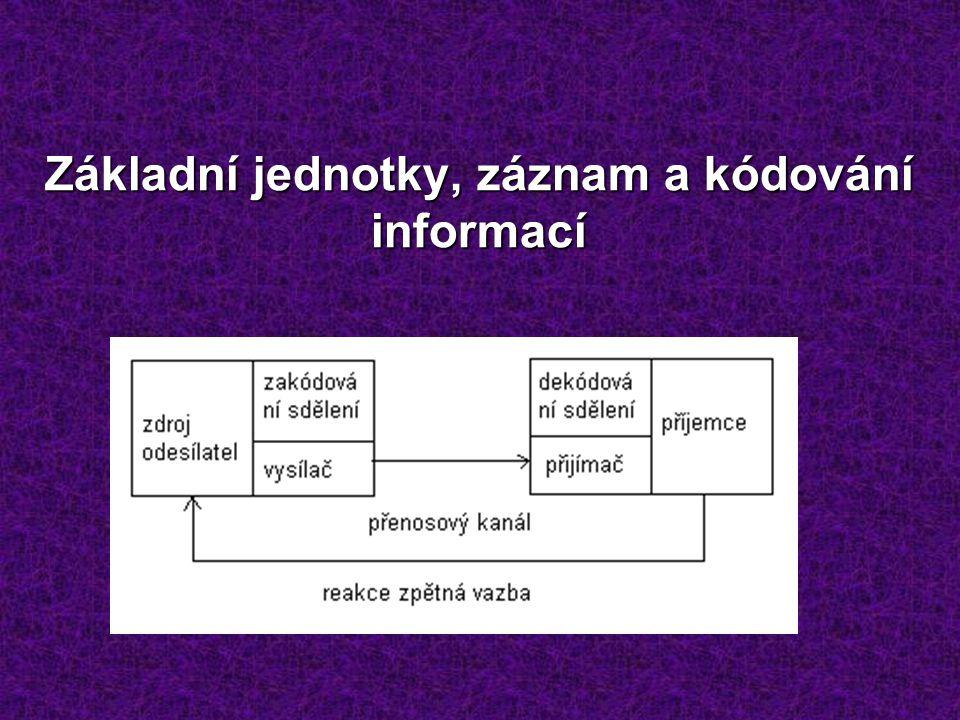 Základní jednotky, záznam a kódování informací
