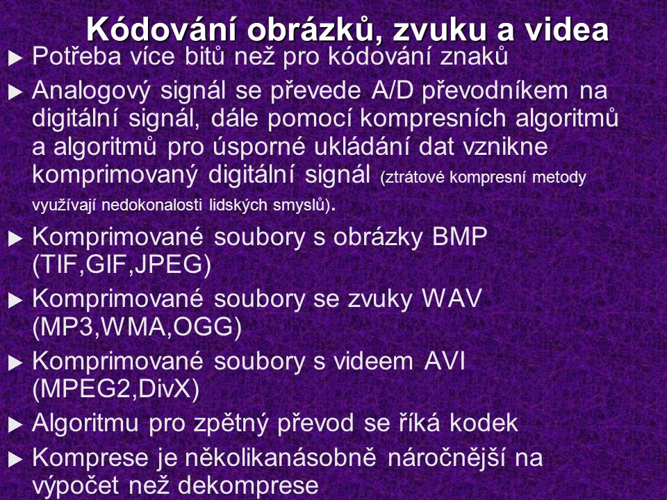 Kódování obrázků, zvuku a videa