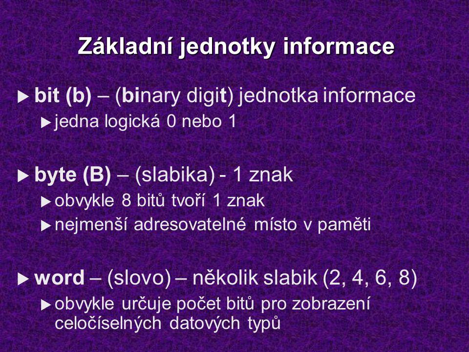 Základní jednotky informace