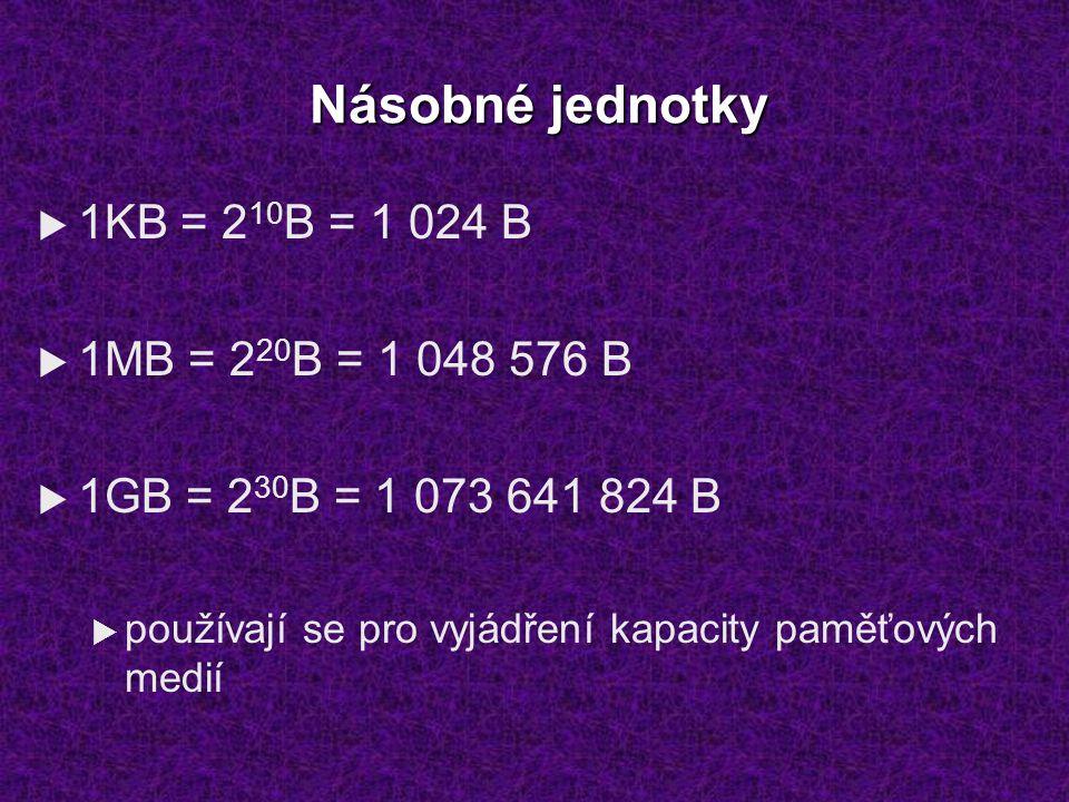 Násobné jednotky 1KB = 210B = 1 024 B 1MB = 220B = 1 048 576 B