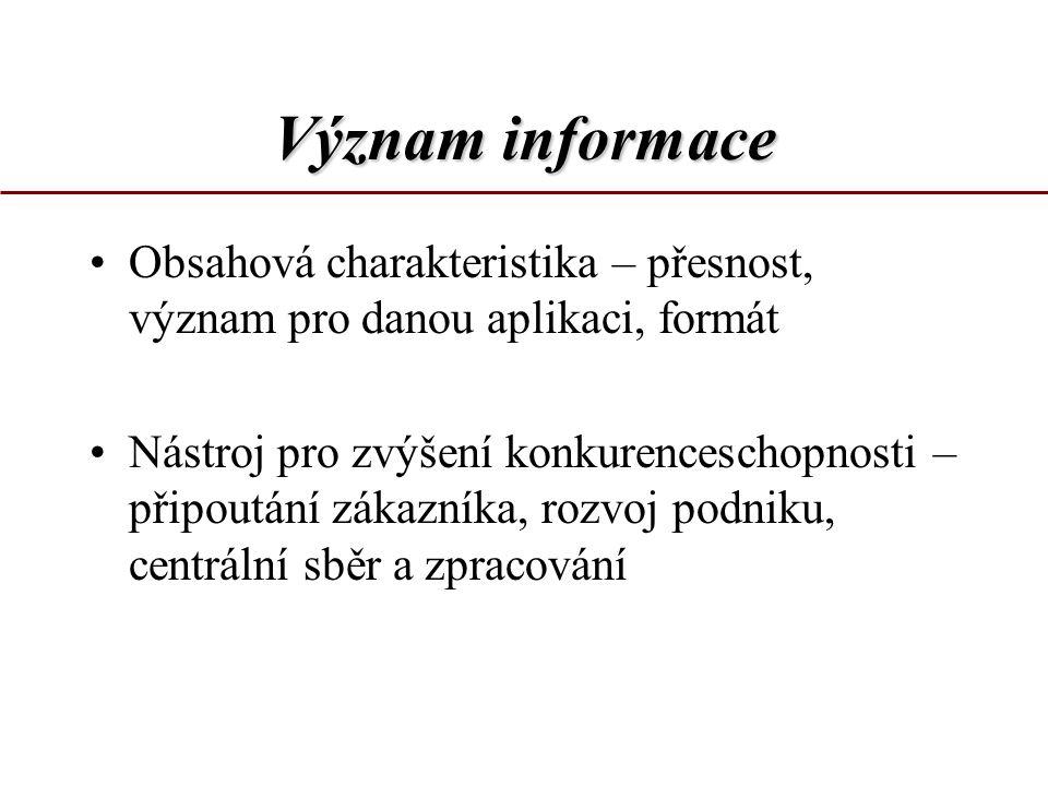 Význam informace Obsahová charakteristika – přesnost, význam pro danou aplikaci, formát.