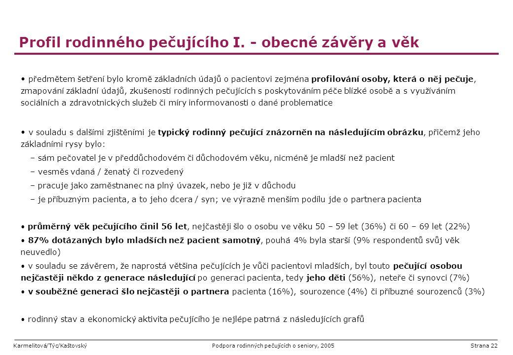 Profil rodinného pečujícího I. - obecné závěry a věk