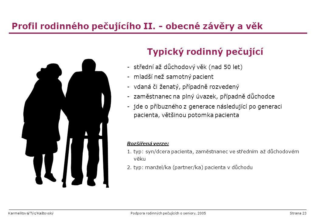 Profil rodinného pečujícího II. - obecné závěry a věk