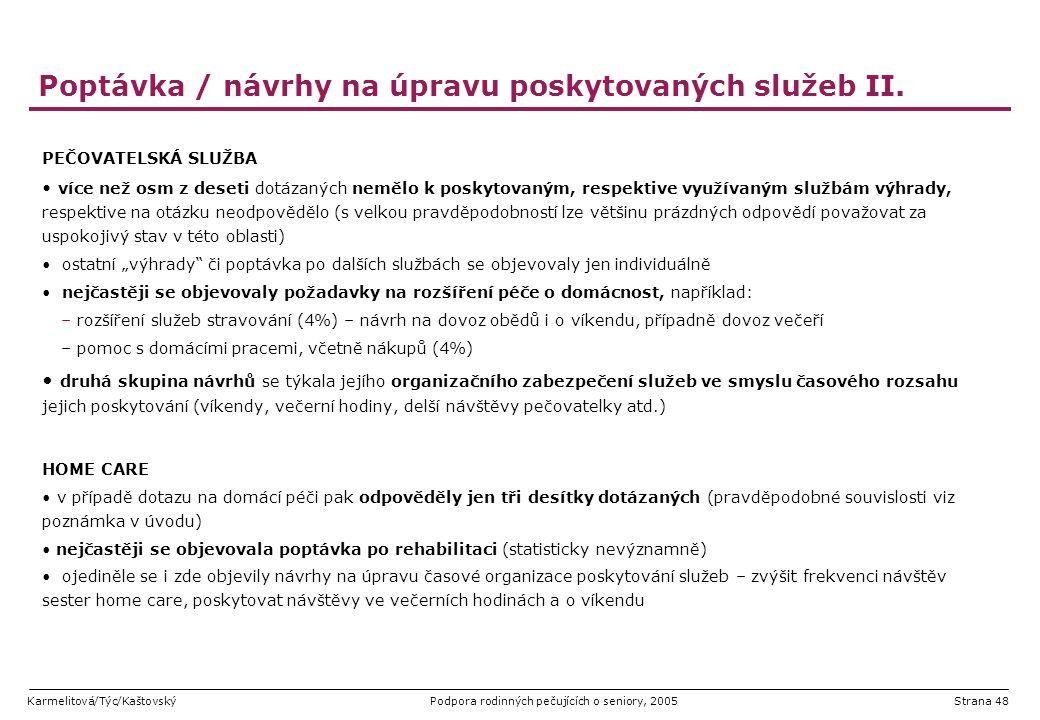 Poptávka / návrhy na úpravu poskytovaných služeb II.
