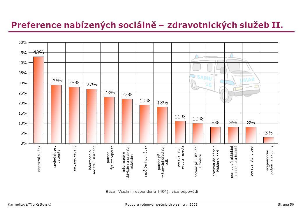 Preference nabízených sociálně – zdravotnických služeb II.