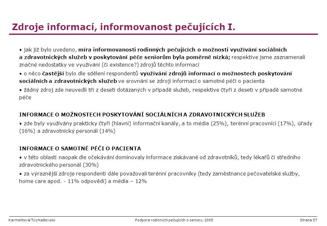 Zdroje informací, informovanost pečujících I.