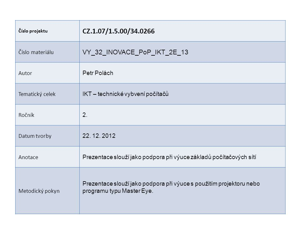 CZ.1.07/1.5.00/34.0266 VY_32_INOVACE_PoP_IKT_2E_13 Číslo materiálu