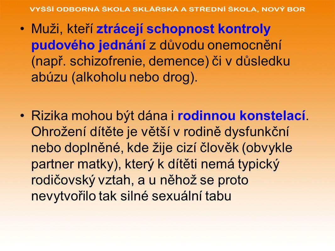 Muži, kteří ztrácejí schopnost kontroly pudového jednání z důvodu onemocnění (např. schizofrenie, demence) či v důsledku abúzu (alkoholu nebo drog).