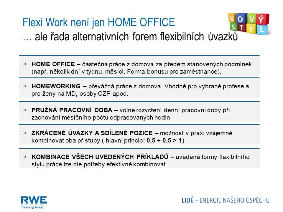Flexi Work není jen HOME OFFICE … ale řada alternativních forem flexibilních úvazků