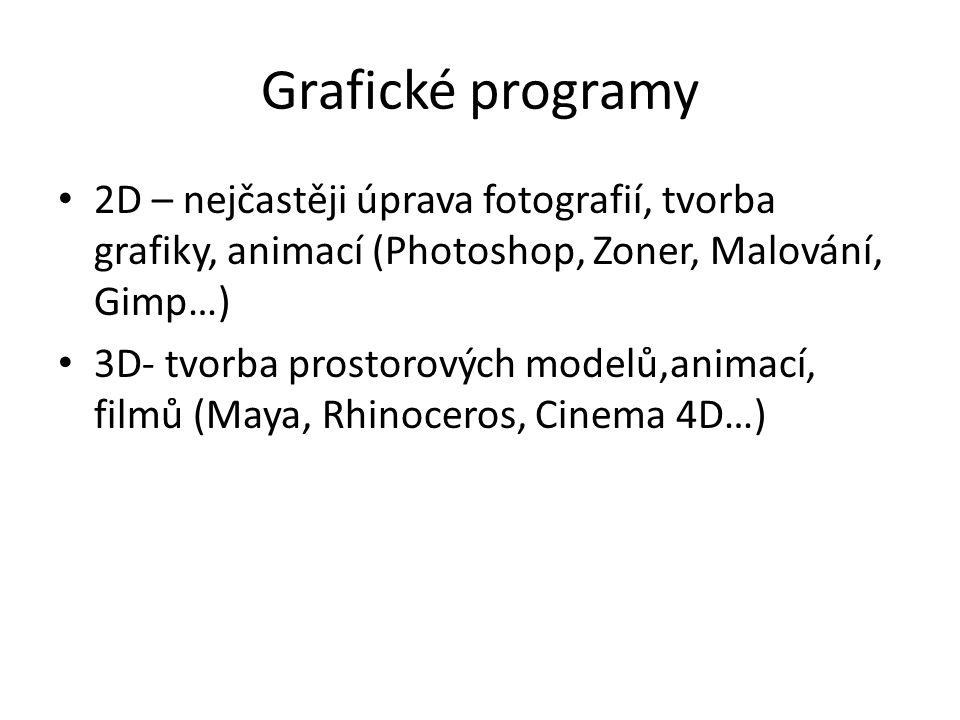 Grafické programy 2D – nejčastěji úprava fotografií, tvorba grafiky, animací (Photoshop, Zoner, Malování, Gimp…)