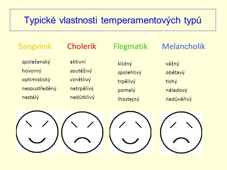Typické vlastnosti temperamentových typů