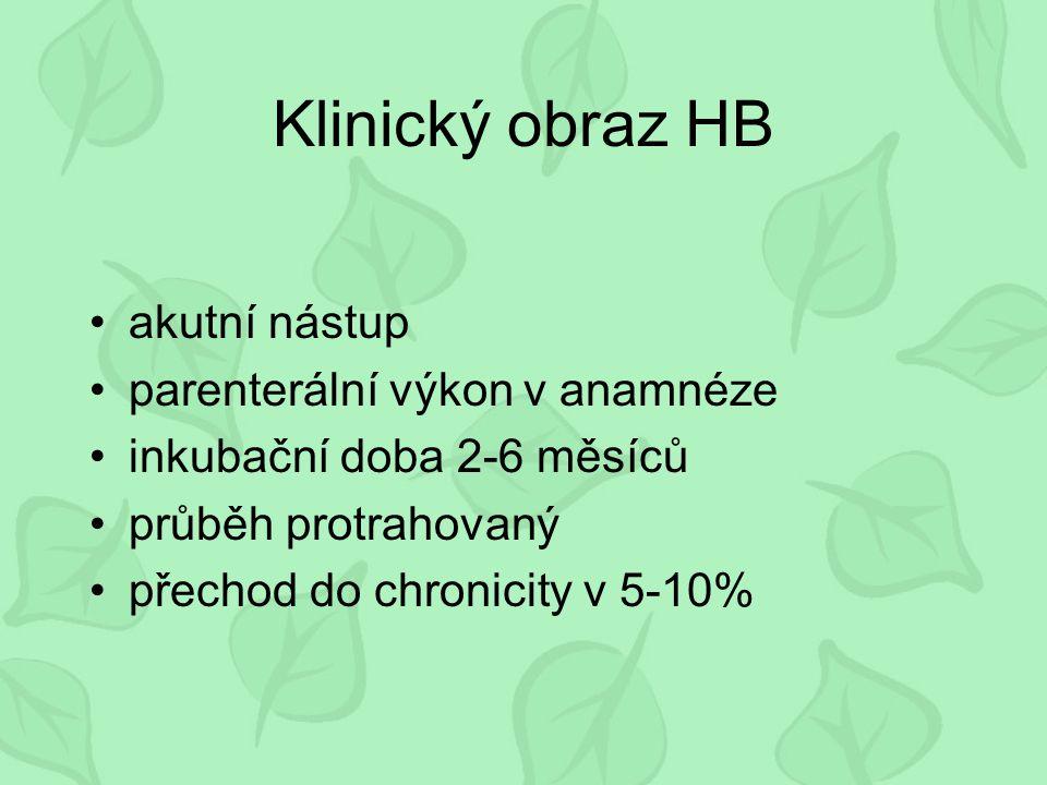Klinický obraz HB akutní nástup parenterální výkon v anamnéze