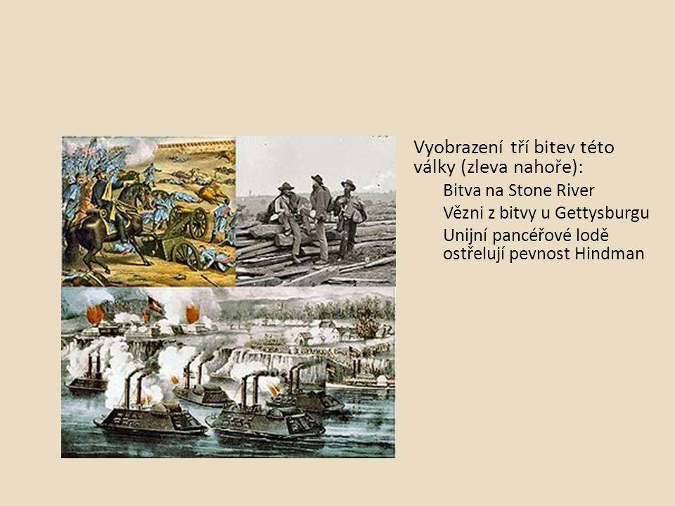 Vyobrazení tří bitev této války (zleva nahoře):