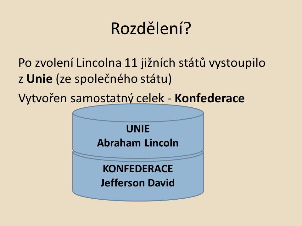 Rozdělení Po zvolení Lincolna 11 jižních států vystoupilo z Unie (ze společného státu) Vytvořen samostatný celek - Konfederace