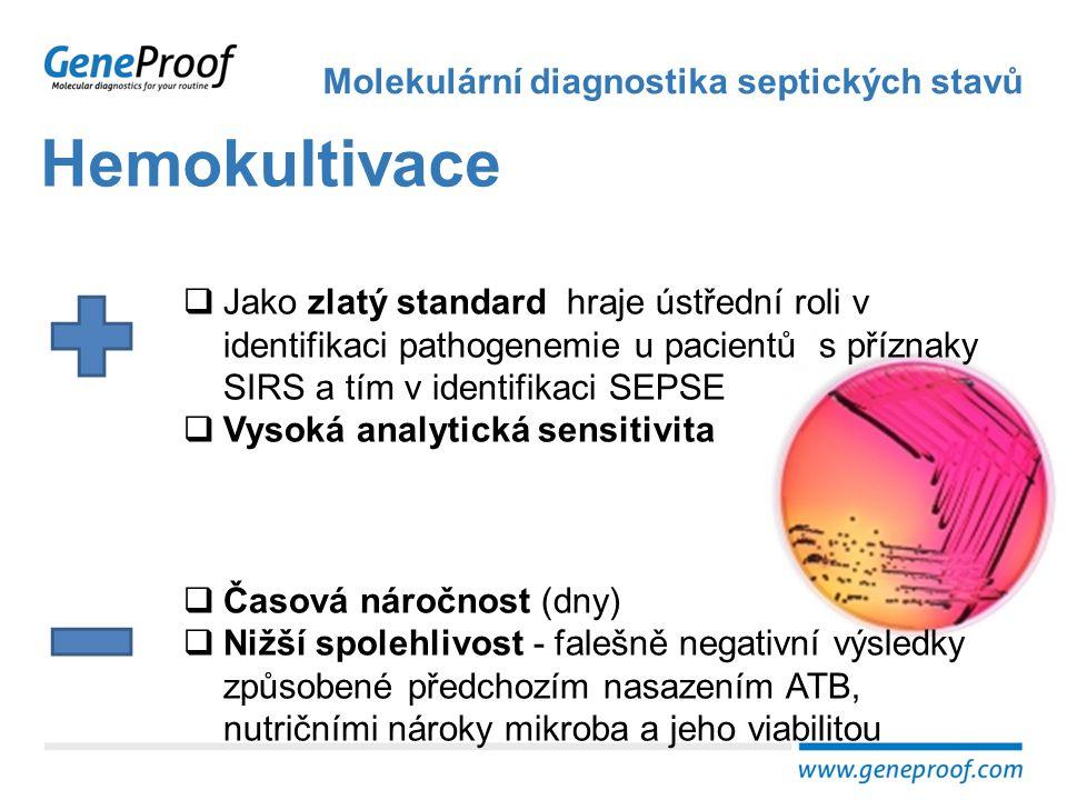 Hemokultivace Molekulární diagnostika septických stavů