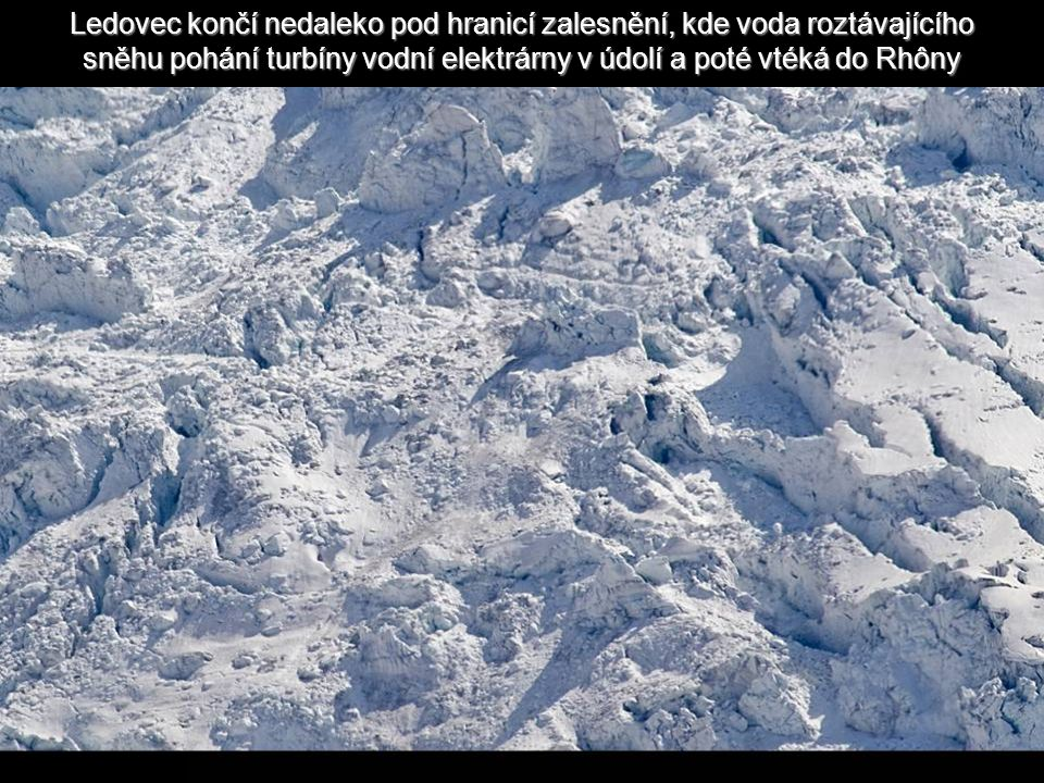 Ledovec končí nedaleko pod hranicí zalesnění, kde voda roztávajícího sněhu pohání turbíny vodní elektrárny v údolí a poté vtéká do Rhôny