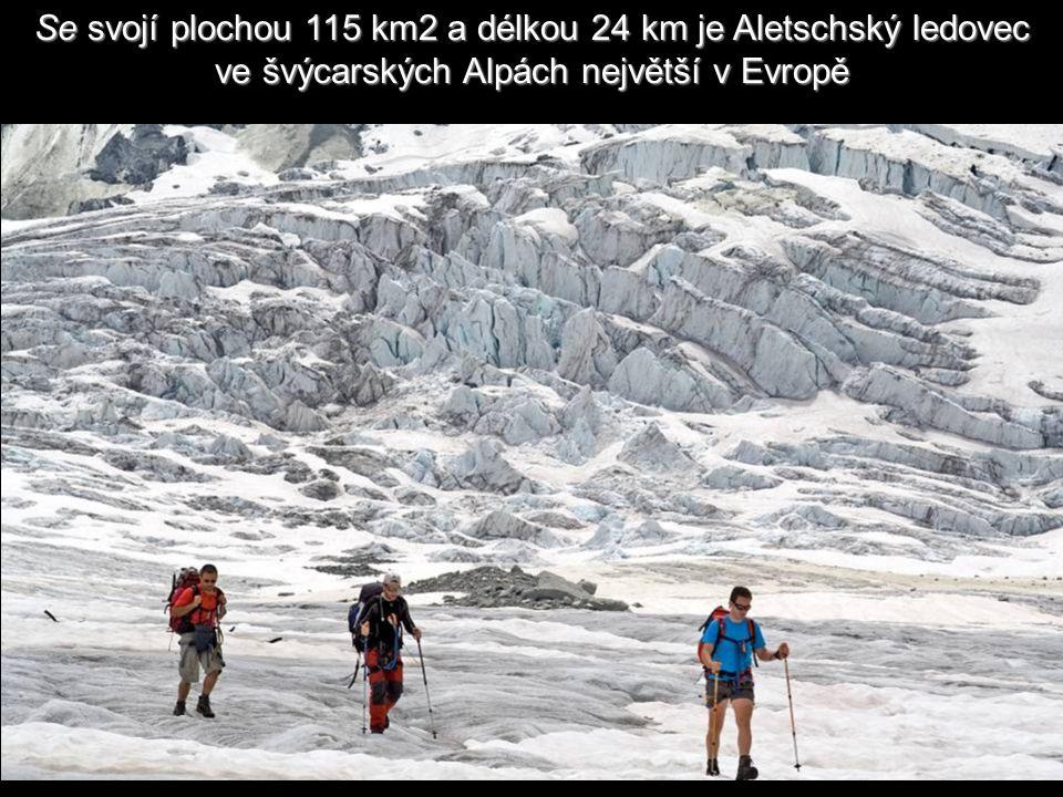 Se svojí plochou 115 km2 a délkou 24 km je Aletschský ledovec ve švýcarských Alpách největší v Evropě