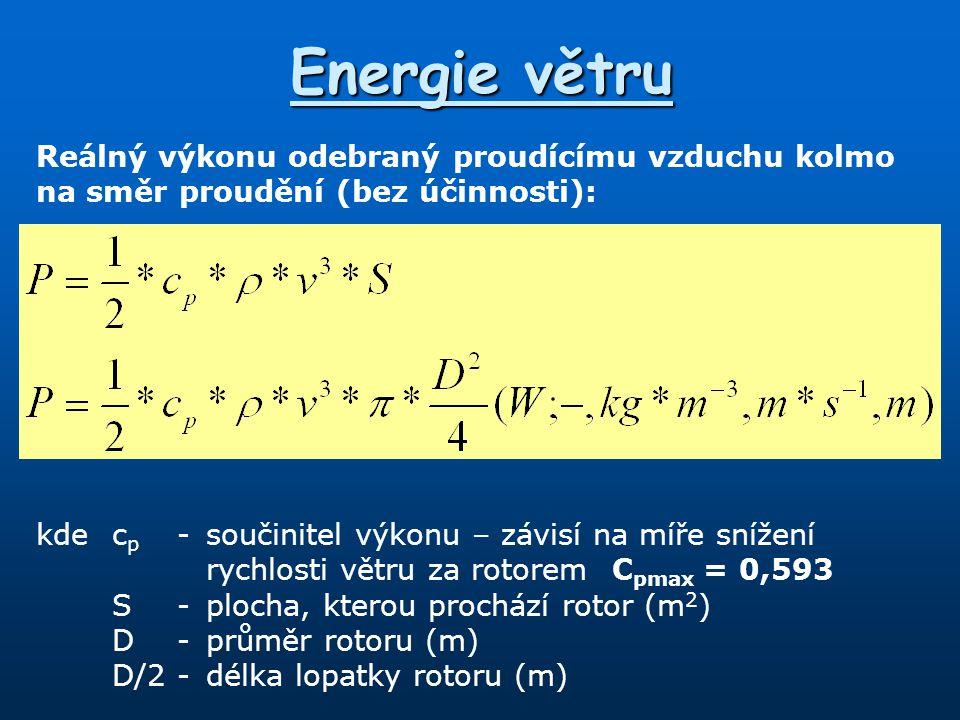 Energie větru Reálný výkonu odebraný proudícímu vzduchu kolmo na směr proudění (bez účinnosti):
